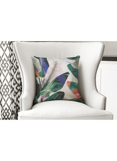 Lyn Home & Decor Yastık Kılıfı Yeşil Mor Beyaz Yaprak Renkli